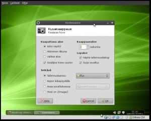 Fluxbox kuvakaappaukset, hiiren kakkospainikkeella työpöytää > apuohjelmat > kuvakaappaus