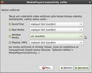 """Tässä voit määritellä videon soittimen jolla haluat toistaa videoita, valitaan Windows Media -osioon VLC, muut jätetään ennalleen, valitse """"Seuraava"""""""