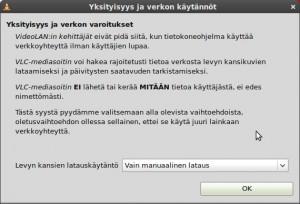 """VLC kysyy ensimmäisen NRJ-nettiradio avauksen yhteydessä yllä olevan, valitse """"OK"""""""