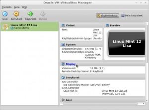 VirtualBox:in pääsivulta klikkaa Display.