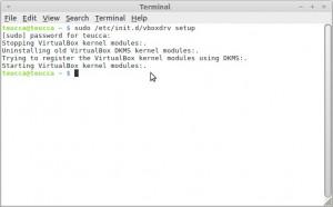 Korjaus on valmis  Terminaalissa näet tekstiä, joka kertoo sinulle mitä tietokone tekee!  Pysäytetään VirtualBoxin kernel moduulit:. Poistetaan vanha VirtualBoxin DKMS moduulit:. Yritetään rekisteröidä VirtualBox ytimeen DKMS moduulien avulla:. Käynnistetään VirtualBox ytimeen moduulit:.