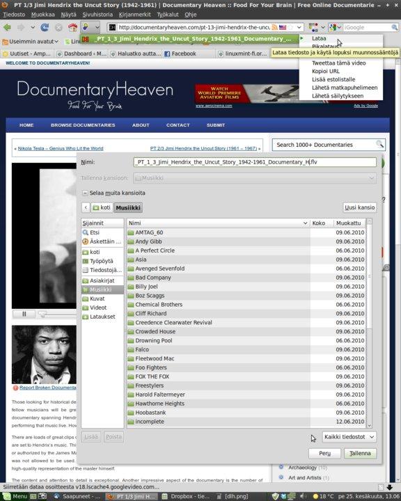 Videoiden lataus netistä